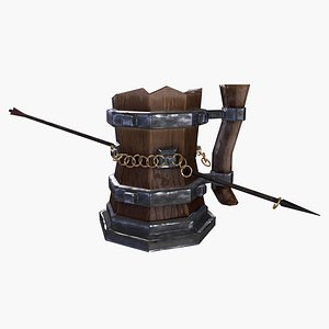 3D Stylized Viking beer mug was penetrated by arrow GameReady Low-poly 3D model