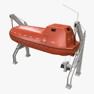 3D davit rescue boat ship model