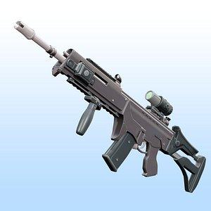 3D model Assault Rifle - G36 - A2 - Rigged 3D Model