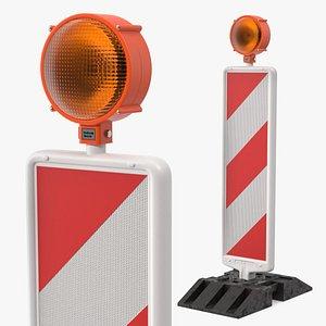 3D model roadworks traffic post warning light
