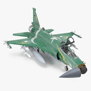 PAC JF-17 Thunder Green Livery with Armament Rigged 3D