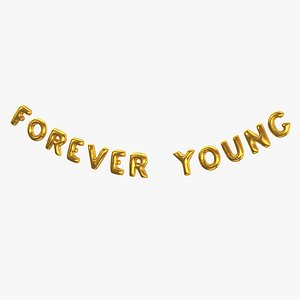 3D model Foil Baloon Words Forever Young Gold