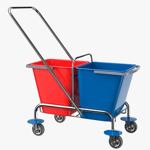 cleaning trolley buckets 3D model