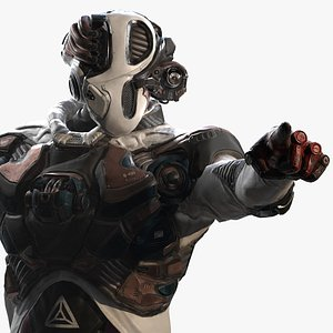 3D model robot cyborg soldier