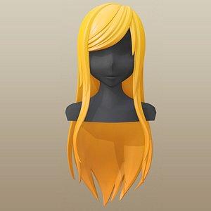 3D hair girl anime model