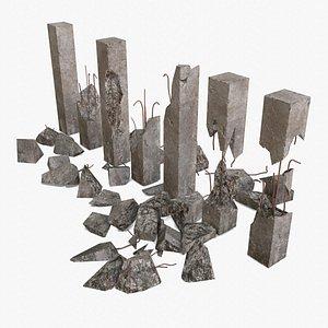 Broken Concrete Pillars Pack 3D