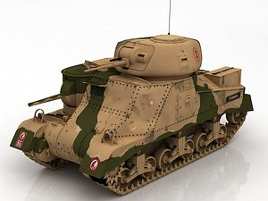 3D United States WWII M3 Grant I Medium Tank model