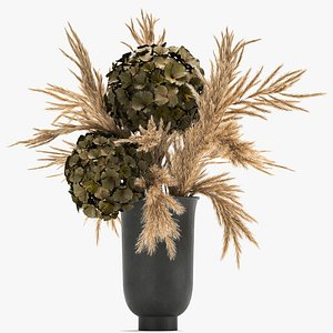 Bouquet of dried flowers in a vase 170 3D