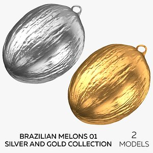 Brazilian Melons 01 Silver and Gold Collection  - 2 models 3D