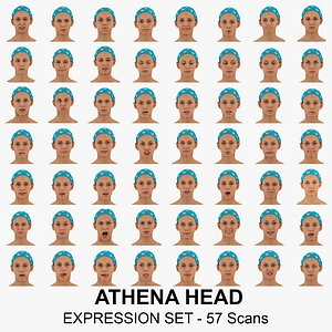 3D Athena Real Head Full Expression Set 57 RAW Scans Collection