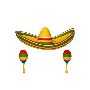 3D sombrero maracas cartoon