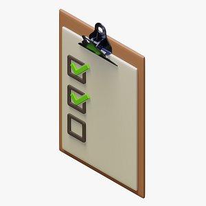 3D checkmark board mark model