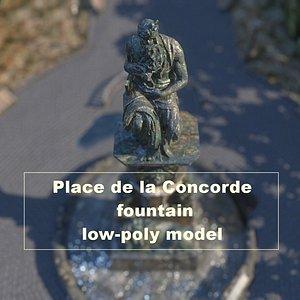 3D Place de la Concorde fountain Low-poly model