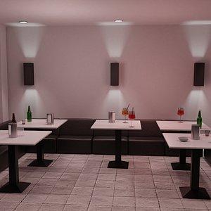 3D model bar night modern