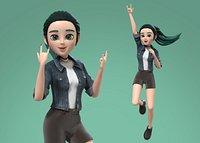 Cartoon Teenager Girl 3D model Rigged