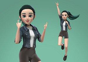 3D cartoon teenager girl rigged model