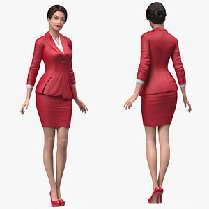 Asian Woman wears Red Formal Suit Rigged for Maya 3D model