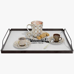 3D Coffee Cups on Tray model