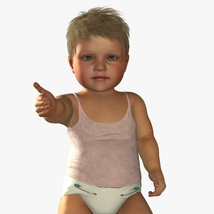 3D baby girl rigged