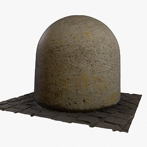 3D Ultra-realistic concrete road bollards hy poly 3D model