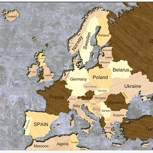3D Europe Map- Country named