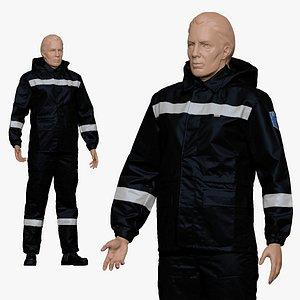 001157 engineering suit black white 3D model