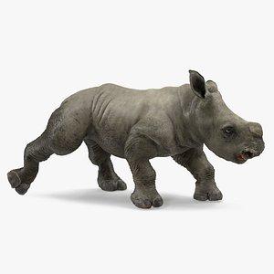 baby rhino walking pose 3D model