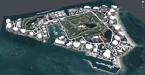 3D Cityscape Fisher island Miami Florida USA