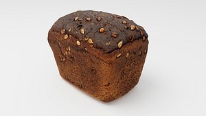 3D model Black bread with sunflower seeds