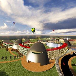 hotel resort landscape 3D model