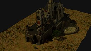 3D model castle trees terrain