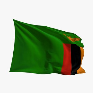 3D Realistic Animated Flag - Microtexture Rigged - Put your own texture - Def Zambia