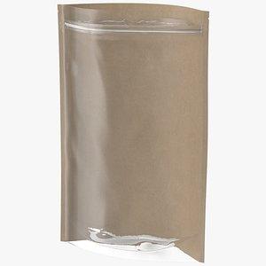 3D Zipper Kraft Paper Bag with Transparent Front 300 g Open Mockup