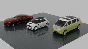 Concept Cars lowpoly set 3D