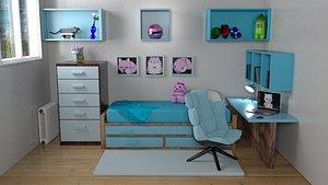 3D model Blue Kids Bedroom