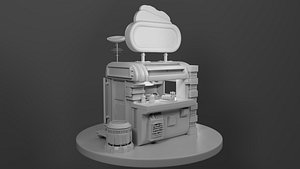 3D Hot Dog stand model
