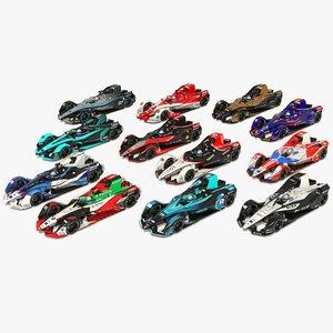 Formula E Season 2020 2021 Race Car Collection 3D model