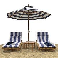 Beach umbrella and chaise longue