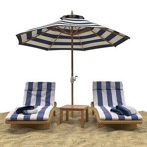 3D model umbrella chaise longue