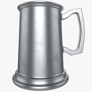 3D Straight Sided Pewter Tankard model