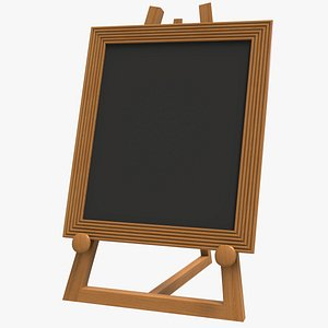 Wooden Easel With Frame 3D