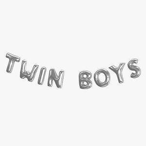 Foil Baloon Words Twin Boys Silver 3D model