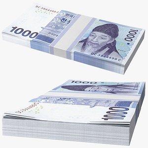 3D model South Korean 1000 Won Banknote Bundle