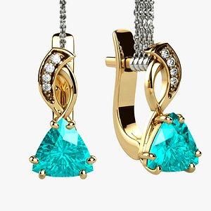 Topaz Trillion Cut Gem Gold Earrings 3D model