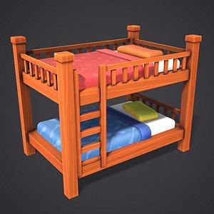 3D bed cartoon stylized model