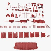 79 Medieval Roman village Buildings parts and objects collection