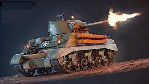 3D Sherman M4A2 model