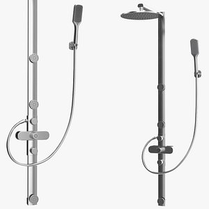 3D Thermostatic Shower Column with Overhead Shower model