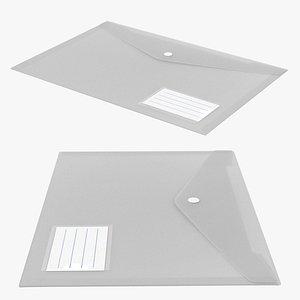 3D Transparent A4 Plastic Document Folder model
