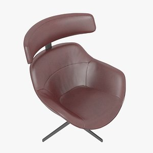 3D Cassina 277-12 Auckland Arm Chair Red Leather Black Body model